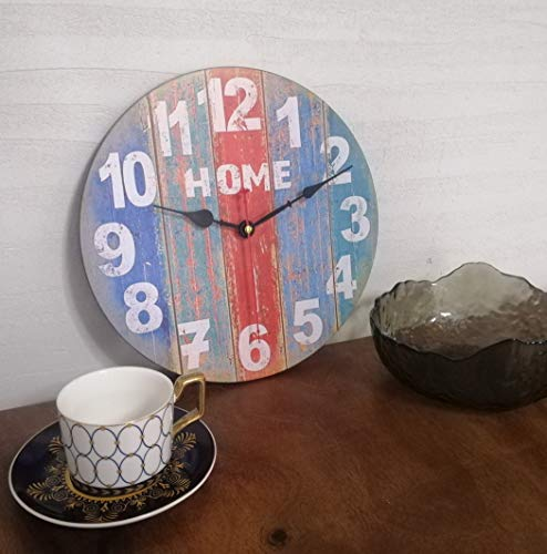 14 inch Rustic Beach Wall Clock Distressed Wood Clocks for Living Room Bedroom Restaurant Loft,Silent Battery Operated,Vintage Farmhouse Style