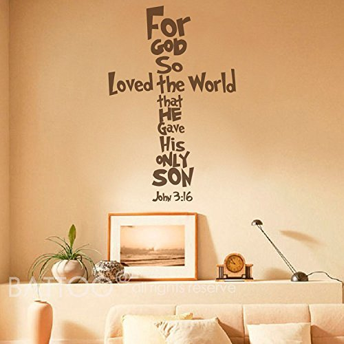 Bible Verse John 3:16 - for God so Loved The World Wall Decal Quotes Cross Lettering Vinyl Wall Art Sticker Easter Wall Decals(Black, 27.5