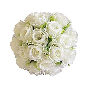 Wedding Bouquet, Sacow Artificial Silk Roses Flowers Bridal Bouquet Rose Home Wedding Decor (18 Head) (B) 41