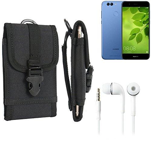 bolsa del cinturón / funda para Huawei Nova 2 Plus, negro + Auriculares | caja del teléfono cubierta protectora bolso - K-S-Trade (TM)