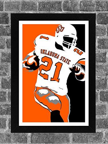 Oklahoma State Barry Sanders Portrait Sports Print Art 11x17