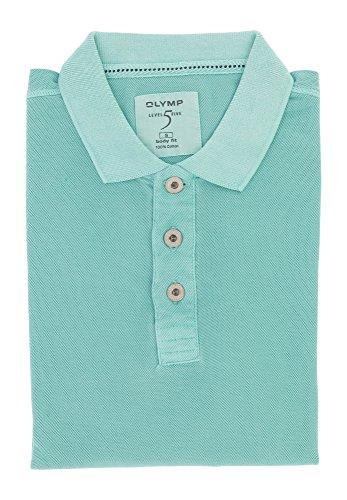 OLYMP Level Five Herren Poloshirt top modische Form | Body Fit mit Polokragen | 100% Baumwolle Gr. S Türkis