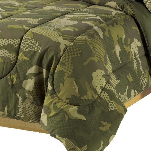 dream FACTORY Geo Camo Army Boys Comforter Set, Green, Full