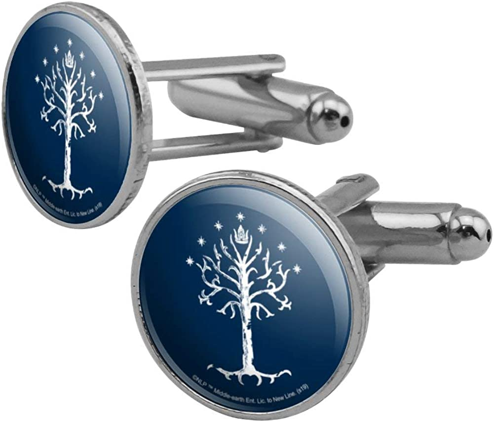 GRAPHICS & MORE Lord of The Rings Tree of Gondor Round Cufflink Set Silver Color