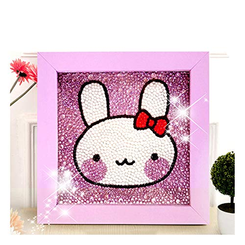 Diamond Painting for Kids Full Drill Painting by Number Kits Arts Crafts Supply Set Rhinestone Mosaic Making for Home Wall Decor Gifts for Christmas Birthday Mothers Day -Include Wooden Frame-Bunny