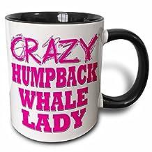 3dRose Crazy Humpback Whale Lady - Two Tone Black Mug, 11oz (mug_175120_4), 11 oz, Black/White