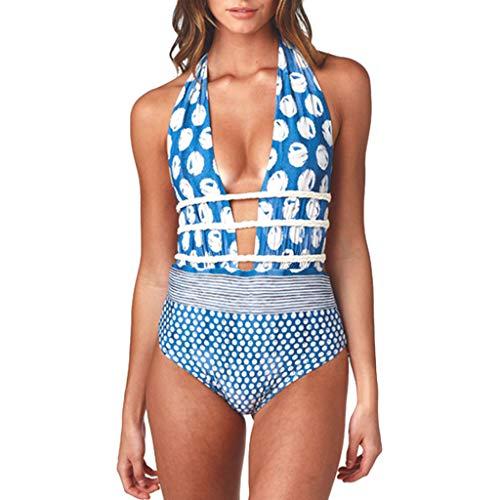 4dc93c9bff58c Women sexy Printed Beachwear, Ladies Patchwork 1 Piece Bandage Bikini  Swimsuit Bathing Suit (L