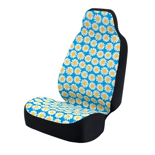 Coverking Universal Fit 50/50 Bucket Flower Fashion Print Seat Cover - Daisy Crazy (Yellow and White Daisies with Blue ()