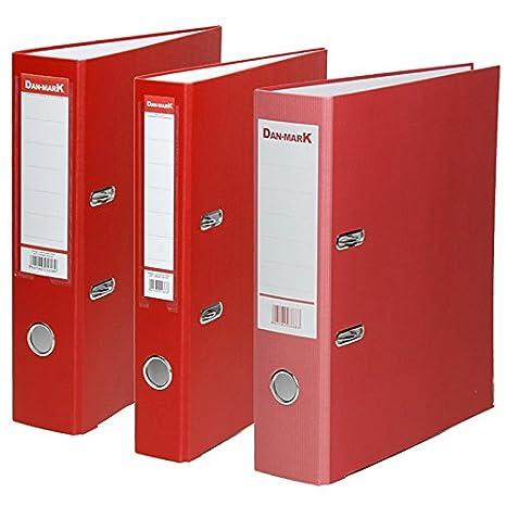 Carpeta DIN A4 PP plástico o papel - Archivador Carpeta Rojo Papel rejilla, varios, 75 mm, 25 unidades: Amazon.es: Oficina y papelería