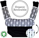 Baby Carrier Reversible Teething Drool Pads: Global Certified 100% Organic Cotton 1 Bib 2 Teething Pads 3-Piece Set | Fit Ergo Babybjorn Infantino Any Baby Carriers| High Absorbent | [Patent Pending]