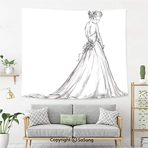 SoSung Bridal Wall Tapestry,Fairytale Ending of a Love Story Princess Sketchy Bride with Flowers Image,Bedroom Living Room Dorm Wall Hanging,80X60 Inches,Black and White