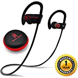 Bluetooth Headphones, Joyful Heart (JH-800), Wireless earphones with Mic, IPX7 Waterproof Headset, Best Earbuds for Sports, HD Sound, Noise Cancelling, 8-Hr Playtime (Black-Red)