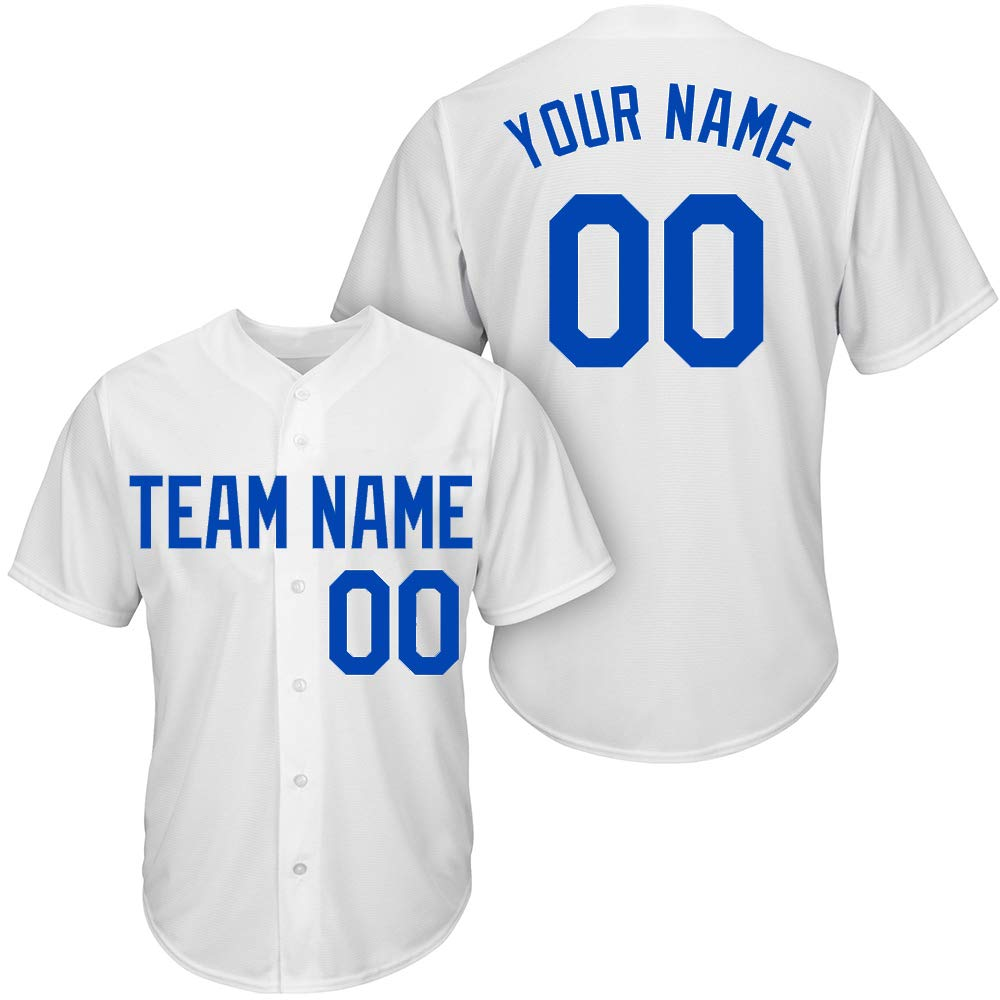 DEHUI Customized Youth White Mesh Baseball Jersey with Embroidered Team Name Player Name and Numbers,Size 3XL by DEHUI