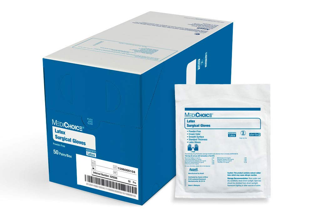 MediChoice Surgical Glove, Powder Free, Sterile, Latex, 7.5 Medium, Cream, 1314SGL65075 (Box of 50)