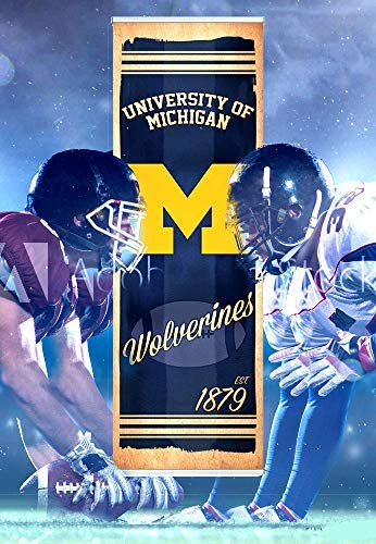 NCAA University of Michigan Wolverines Canvas Banner by FanPanels. Instant Man Cave, Office, Home and Dorm Room Decor. Hangs on Any Door, Wall or Hallway.