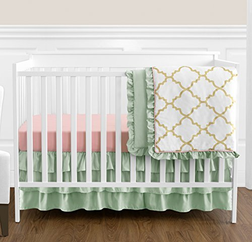 Quatre Pieces (Boutique Ava Mint Coral White and Gold Trellis Girls Baby Bedding 4 Piece Crib Set Without Bumper)