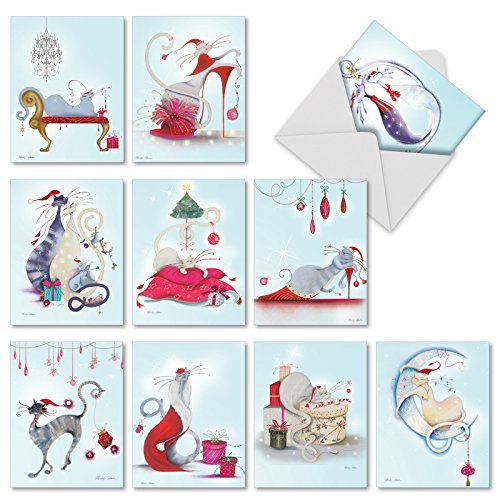 M2301 Catitude Festive Felines: 10 Assorted Christmas Note Cards Featuring Stylish Holiday Cats, w/White Envelopes.