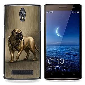 Ihec Tech Inglés Mastín Pintura del arte del perro canina / Funda Case back Cover guard / for OPPO Find 7 X9077 X9007