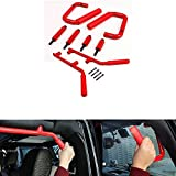 Opall 4X Hard Mount Solid Steel Grip Handle Grab Bar Grab Handle for Jeep Wrangler JK Sahara Sport Rubicon X & Unlimited 2007-2017 4 Door (4pc, Red Front & Rear Grab Handles)