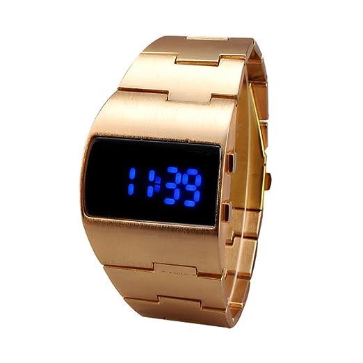 Relojes de pulsera para Hombres - Dxlta Militares Impermeable Reloj LED de acero inoxidable, Negocio