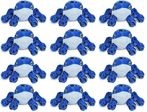 "Wildlife Tree 12 Pack Blue Dart Frog Mini 4"" Small Stuffed Animals, Bulk Bundle Zoo Animal Toys, Jungle Safari Party Favors for Kids -"