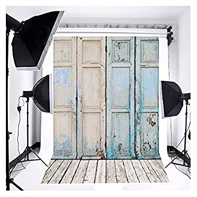 FUT 3-5 Business Days FAST Delivery, Newest Blue Four Wooden Doors & Wooden Floor Vinyl Wedding Backdrop Background for Studio Photography 3x5ft