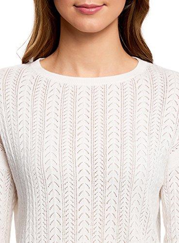 oodji Ultra Mujer Jersey de Punto con Trenzas y Cuello Redondo Blanco (1200N)