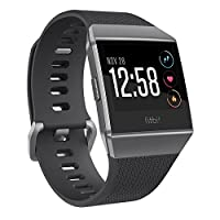 Reloj inteligente Fitbit Ionic GPS, gris carbón /humo, talla única (bandas S & L incluidas)