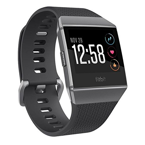 Fitbit Ionic GPS Smart Watch, Charcoal/Smoke Gray, One Size (S & L Bands - Point Icon