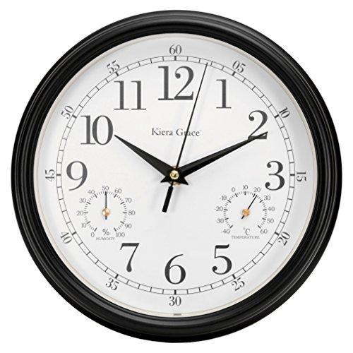 Kiera Grace Metz Indoor/Outdoor Wall Clock with Temperatu...