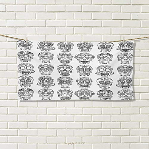 Chaneyhouse Mexican,Hair Towel,Latin American Day of The Dead Skull Designs with Floral Inspirations Celebration,Quick-Dry Towels,Black White Size: W 8'' x L 23.5'' by Chaneyhouse