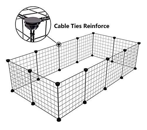 Tespo Parc de chien, clôture portative intérieure en métal de yard de fil pour de petits animaux, tente de clôture de caisse de chenil de Popup, panneaux noirs de 12 CB06PA