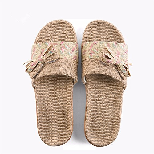 YMFIE Damas de Verano' adentro lencería del hogar Antideslizante hogar Tranquila Piso de Madera Cool Zapatillas Zapatos b