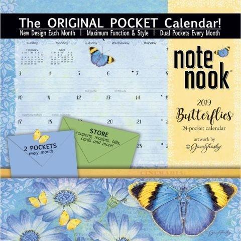 Wells St. by LANG - 2019 Note Nook Organizational Wall Calendar -Butterflies, Artwork by Jane Shasky - 24 Storage Pockets - 12 Months - 11 3/4 x 13 1/4 (Note Nook Wall Calendar)