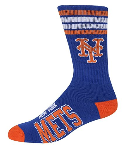 New York Mets 4 Stripe Deuce Crew Socks Men's Size Medium (New York Mets Fiber)