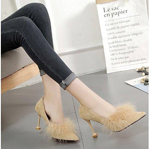 GAOLIM Zapatos De Tacón Alto Chica Solo Zapatos De Punta Mujeres Delgadas Y Ligeras para El Alto-Heel Shoes (5-8 Cm) El Amarillo de 7cm.