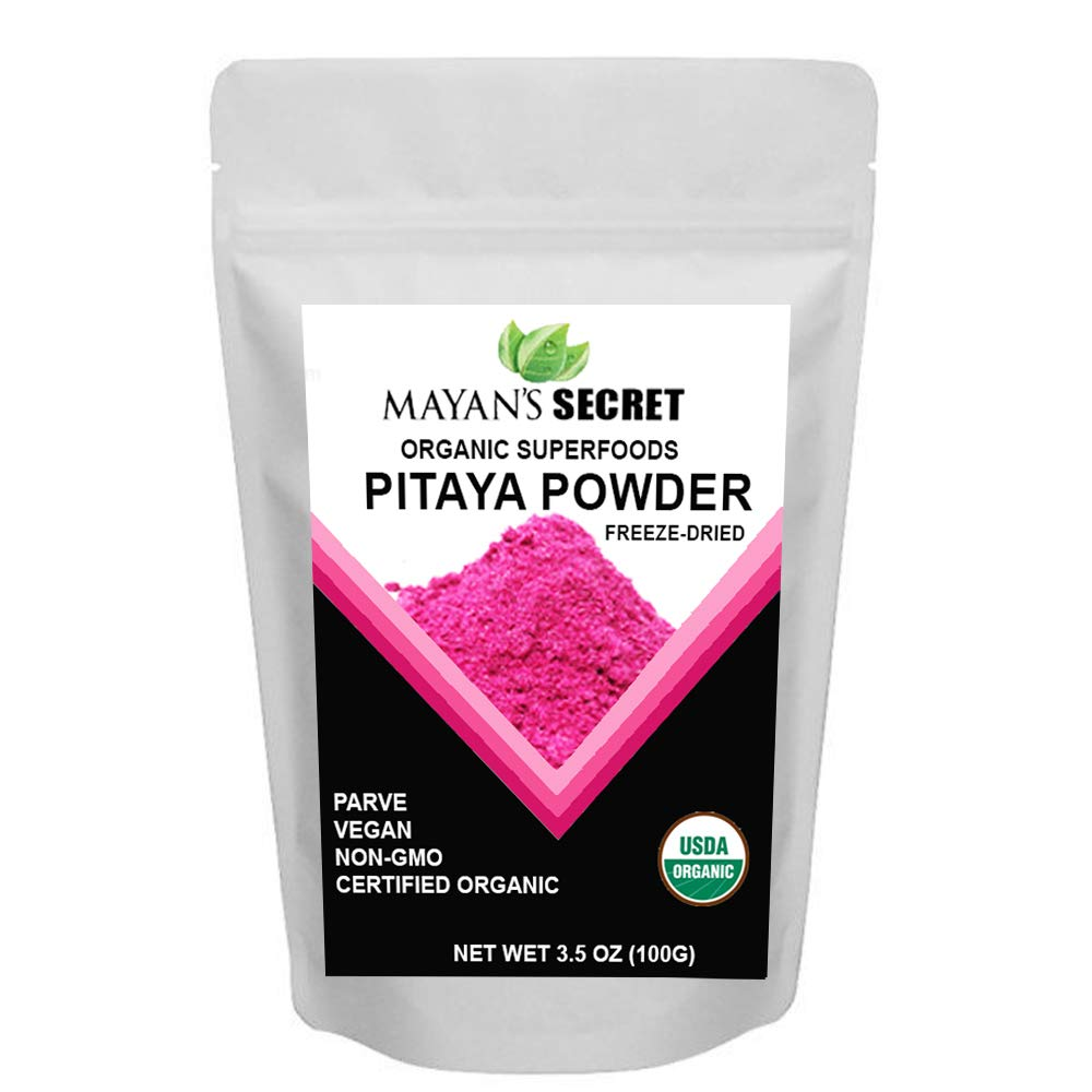 Mayan's Secret USDA Certified Organic Freeze-Dried Pitaya Powder Red Dragon Fruit Powder, (3.5 OZ) Antioxidants   Vitamin C