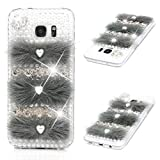 MOTIKO Galaxy S7 Edge Case 3D Art Bling Diamond Crystal Rhinestones Clear Case Shiny Glitter Gems Bumper Hard PC Transparent Protective Phone Back Cover for Samsung Galaxy S7 Edge - Fluffy Pearls