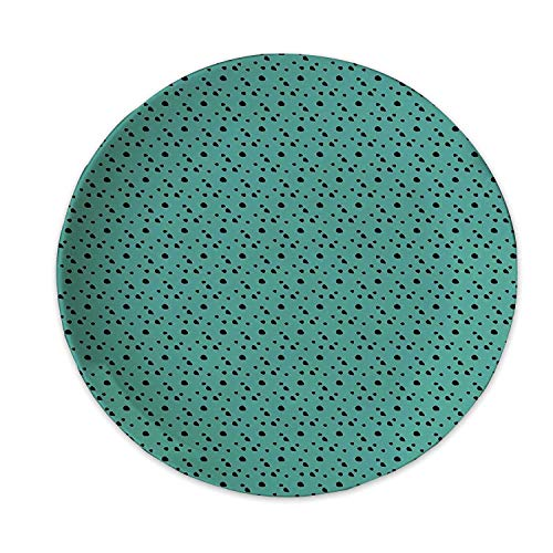 Hitecera Animal Print Decorative Glass Plate,Dalmatian Dog Fur Inspired Little Polka Dots Circles Rounds Image for Office,6 inch (Fur Plate Code Item)