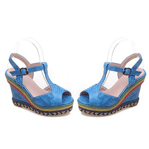 VogueZone009 Women's Peep Toe Buckle Solid High-Heels PU Sandals Blue s5vMFlpoi