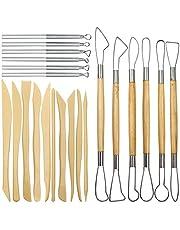 AIFUDA Pottery Clay Sculpting Tools, 22Pcs Wooden Handle Pottery Carving Tools & Metal Scraper & Plastic Clay Shaping Tools, for Pottery Sculpture Ceramic Clay Indentation Trimming Cutting