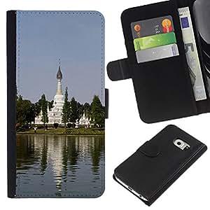 KLONGSHOP // Tirón de la caja Cartera de cuero con ranuras para tarjetas - Jardín Chino - Samsung Galaxy S6 EDGE //