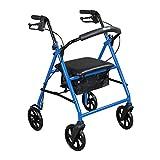 Drive Medical Steel Walker Rollator with 8 Inch Wheels, Blue