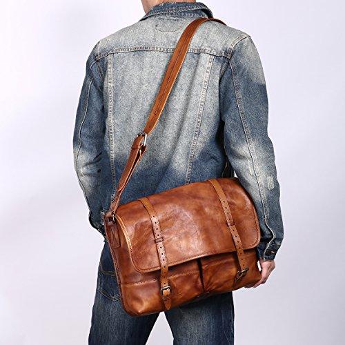 Sacoche Porte Vintage Sac Rétro Cuir Hommes Hommes Brun4 Cuir Cartable En Leathario Épaule R8q6IwzI