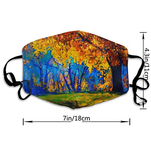 Dust Mask Oil Painting-Autumn Landscape Fashion Anti-dust Reusable Cotton Comfy Breathable Safety Mouth Masks Half Face Mask for Women Man Running Cycling Outdoor