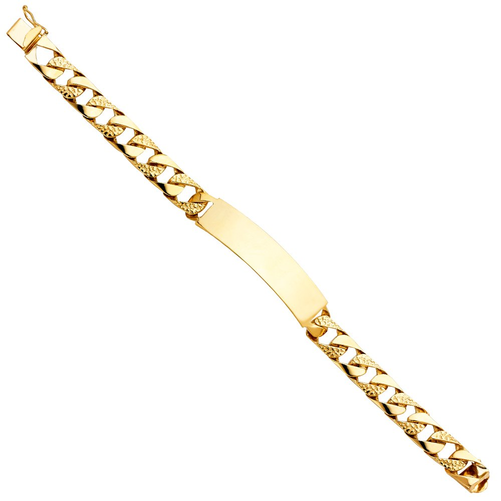 CUSTOM ENGRAVED - 14K Yellow Solid Gold Nugget Cuban Link ID Bracelet - 8.5''