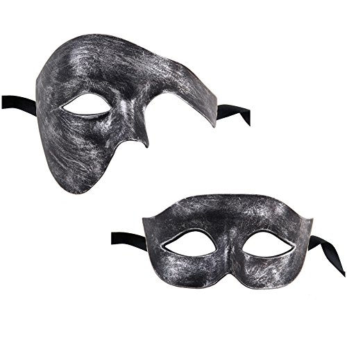 Joker Costume Venice (Xvevina Halloween Black Silver Half face masquerade mask for couples Phantom design)