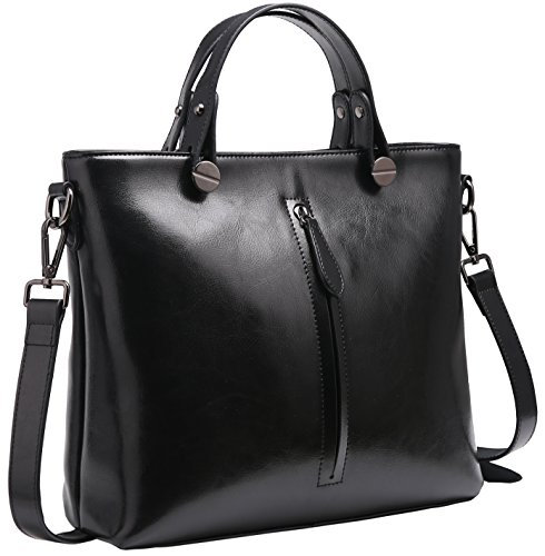 Heshe Womens Leather Shoulder Handbags Work Totes Top Handle Bag Satchel Designer Purse Cross Body Bags (Black-R)