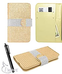 iWIRE® Yellow Luxury Magnetic Bling Full Diamond Credit Card Wallet Cover Case for HTC Desire 510 + iWIRE® Touch Screen Pen