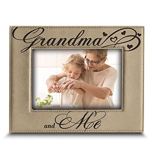 Bella Busta- Grandma and Me Picture Frame- Grandma gifts- Gift for Grandparents-Engraved Leather Picture Frame (5